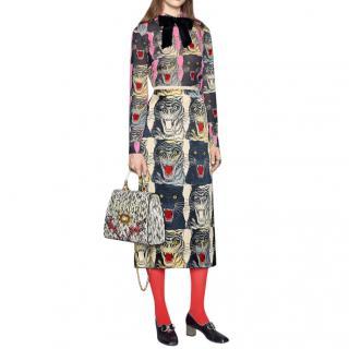 Gucci Tiger Head Printed Silk Skirt