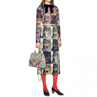 Gucci Tiger Head Printed Silk Skirt
