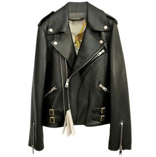 Gucci Black Asymmetric Leather Biker Jacket