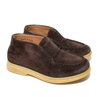 Loro Piana Kids Brown Leather Open Walk Loafers