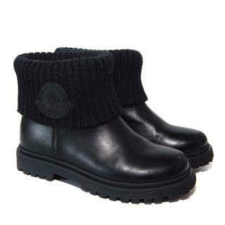 Moncler Kids Petite Ginette Black Leather Boots