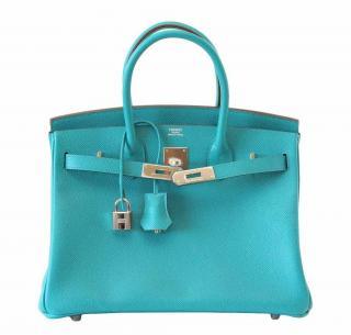 Hermes Epsom Leather Blue Paon Birkin 30 PHW