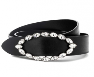 Saint Laurent Crystal Buckle Black Leather Belt
