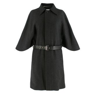 Saint Laurent Wool Grey Cape Coat with Belt
