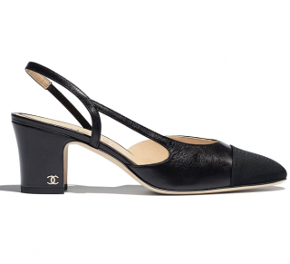 Chanel sling back, suede calfskin & grosgrain pumps