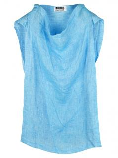 Issey Miyake Blue Linen Sleeveless Top