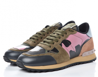 VALENTINO Suede Camouflage Rockstud Sneakers