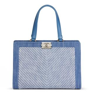 Chanel Blue Denim Chevon Boy Tote Bag