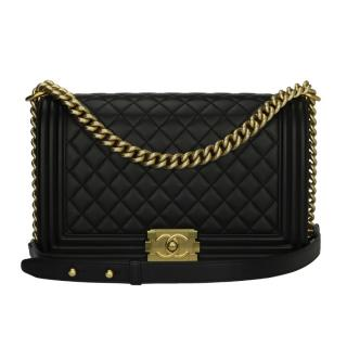 Chanel Black Leather Boy Bag w/Gold Tone Brushed Hardware