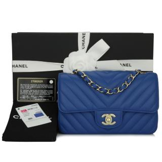 Chanel Blue Chevron Leather Rectangle Mini Flap Bag