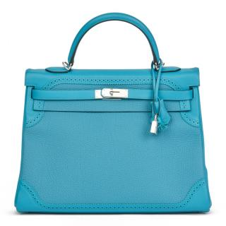 Hermes Swift Leather & Togo Leather Turquoise Kelly Ghillies 35