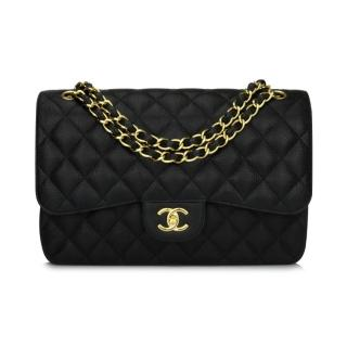 Chanel Black Caviar Leather Double Flap Bag