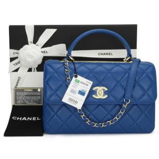 Chanel Blue Leather Coco Top Handle Bag