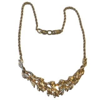 Christian Dior vintage gold plated crystal necklace