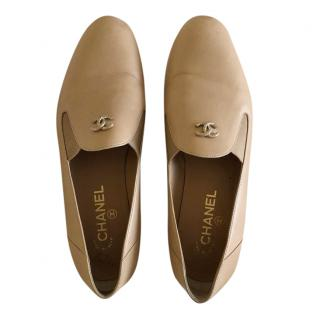 Chanel Beige CC Leather Loafers