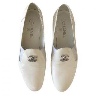 Chanel White Leather CC Loafers