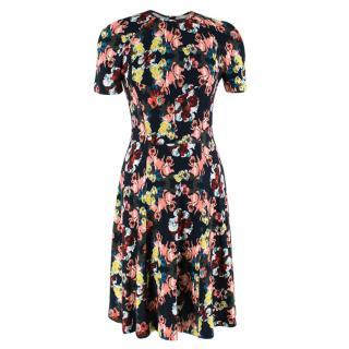 Erdem Black Floral Print A-Line Dress