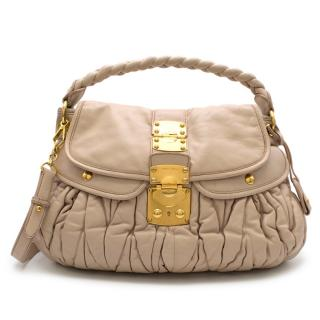 Miu Miu Matelasse Beige Leather Tote Bag
