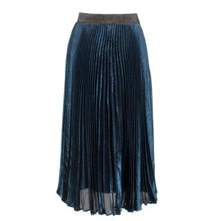 Christopher Kane Lame Pleated Skirt in Metallic Blue