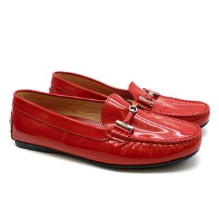 Tod's Patent Red Leather Loafers