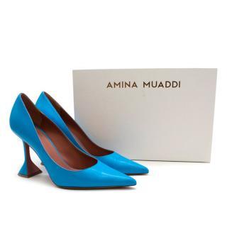Amina Muaddi Clessidra Pump Heel in Nappa Blue