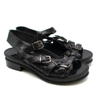 Robert Clergerie Black Snake Effect Mini Platform Chunky Sandals