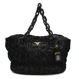 Prada Black Nylon Quilted Tote Shoulder Bag