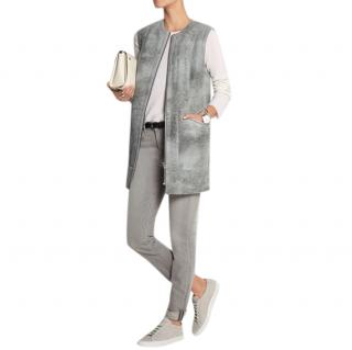McQ by Alexander McQueen Grey Shearling Sleeveless Jacket