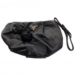 Prada Black Satin Wristlet Clutch