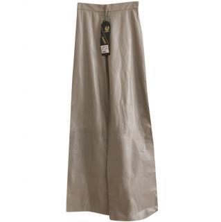 Belstaff Grey Leather Wide Leg Pants