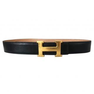 Hermes Black/Beige H Buckle Belt