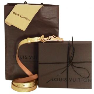 Louis Vuitton metallic gold leather logo buckle belt