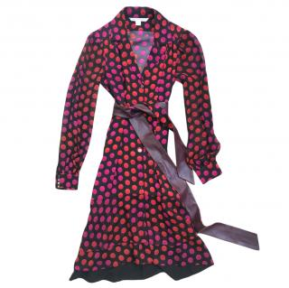 DVF red, pink and black spotted wrap dress with sheer sleeves and belt