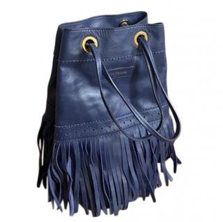 J&M Davidson blue leather Rio fringed shoulder tote bag