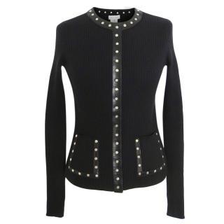 Celine vintage black wool Studded cardigan