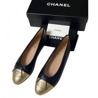 Chanel Black & Gold Ballerina Flats