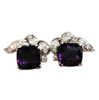 Bespoke Art Deco Amethyst & Diamond Stud Earrings