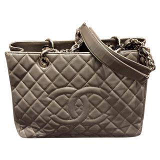 Chanel Grey Quilted Leather Grand Shopping Tote