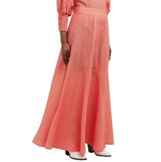 Ganni red gingham seersucker panelled skirt