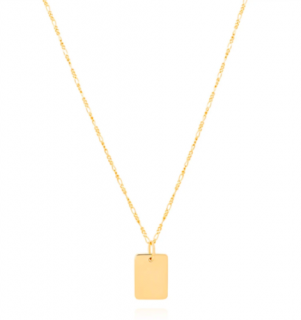 Astrid & Miyu 18K gold plated tag necklace