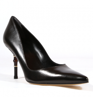 Gucci Black Leather Pumps W/ Bamboo Heel