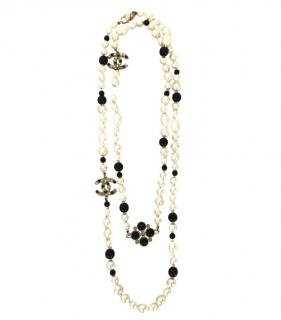 Chanel Black & White Faux Pearl Gripoix Double Strand Necklace