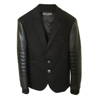 Balmain Black Logo Tailored Jacket W/ Leather Sleeves