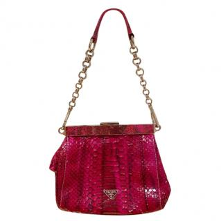 Prada Pink Snakeskin Shoulder Bag