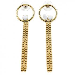 Joomi Lim Crystal Hoop Chain Drop Earrings