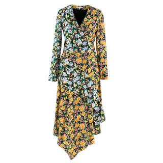 Maje Roen Floral Print Asymmetric Dress