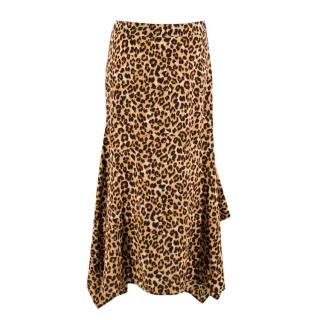 Veronica Beard Leopard Print Silk Crepe Handkerchief Skirt
