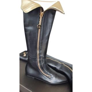 Gucci Black Zip Detail Leather Long Boots
