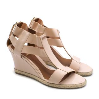Fendi Patent Pink Wedge Sandals