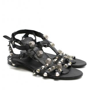 Balenciaga Giant Stud Black Leather Sandals